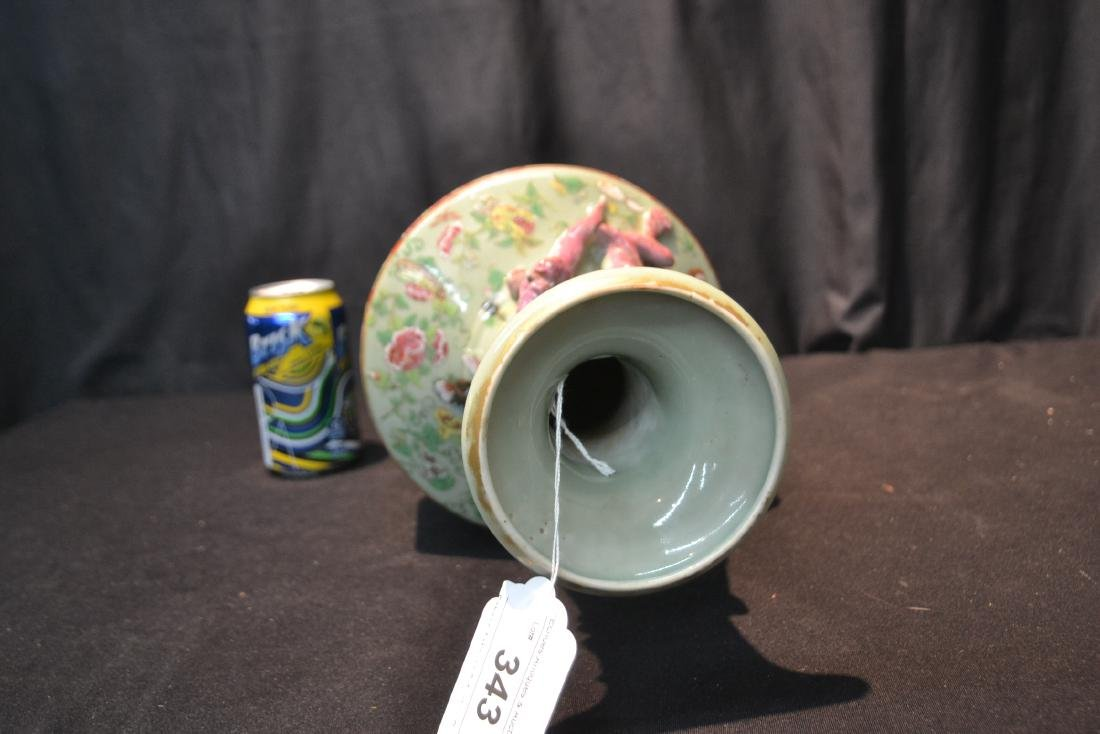 CHINESE CELEDON COLOR CHINESE VASE WITH - 9