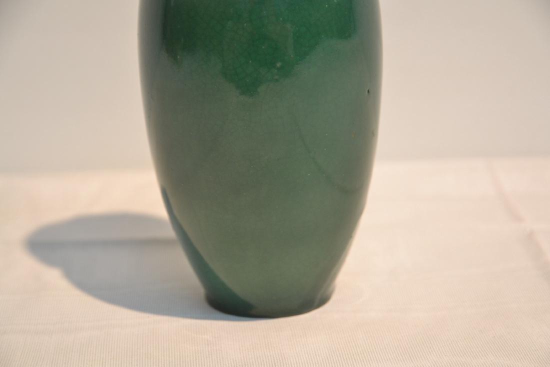 GREEN CHINESE CRACKLE PORCELAIN VASE - 4