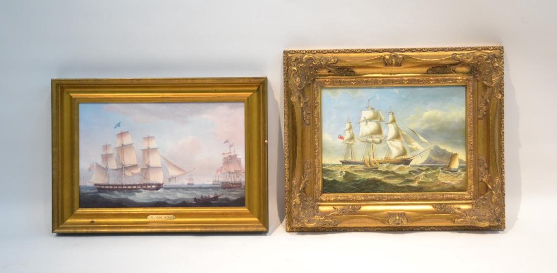 (2) CONTEMPORARY OIL ON CANVAS OF SHIPS AT SEA