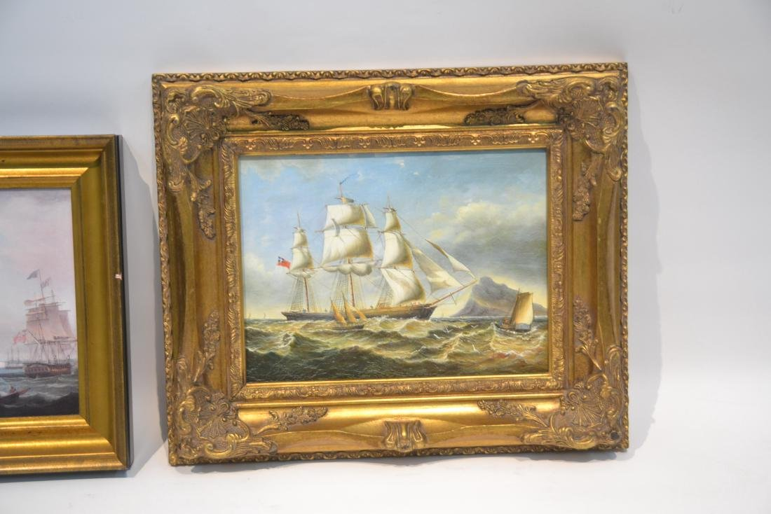 (2) CONTEMPORARY OIL ON CANVAS OF SHIPS AT SEA - 2