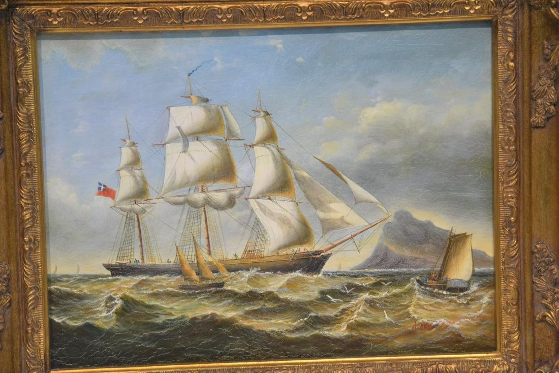 (2) CONTEMPORARY OIL ON CANVAS OF SHIPS AT SEA - 3