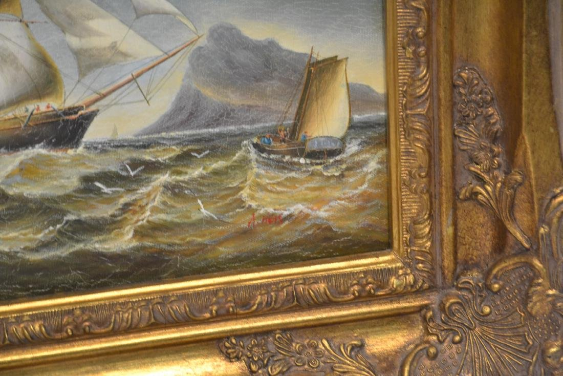 (2) CONTEMPORARY OIL ON CANVAS OF SHIPS AT SEA - 6