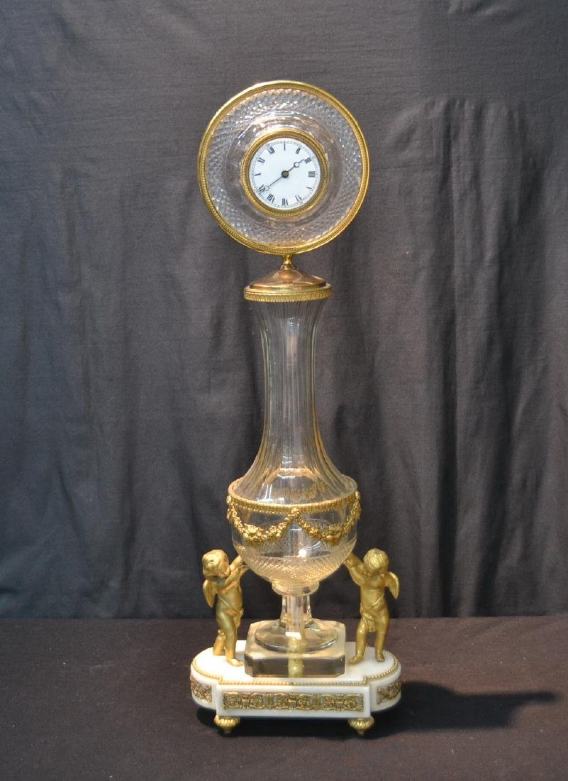 BRONZE & MARBLE CUT GLASS URN & CLOCK WITH