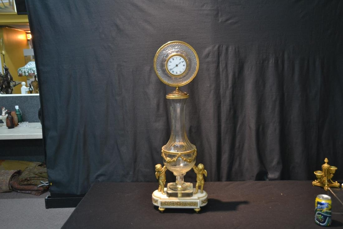 BRONZE & MARBLE CUT GLASS URN & CLOCK WITH - 2