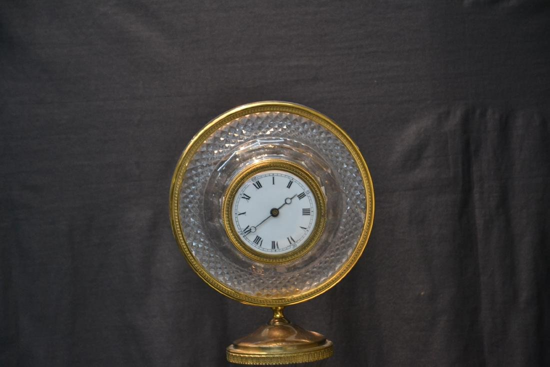 BRONZE & MARBLE CUT GLASS URN & CLOCK WITH - 3