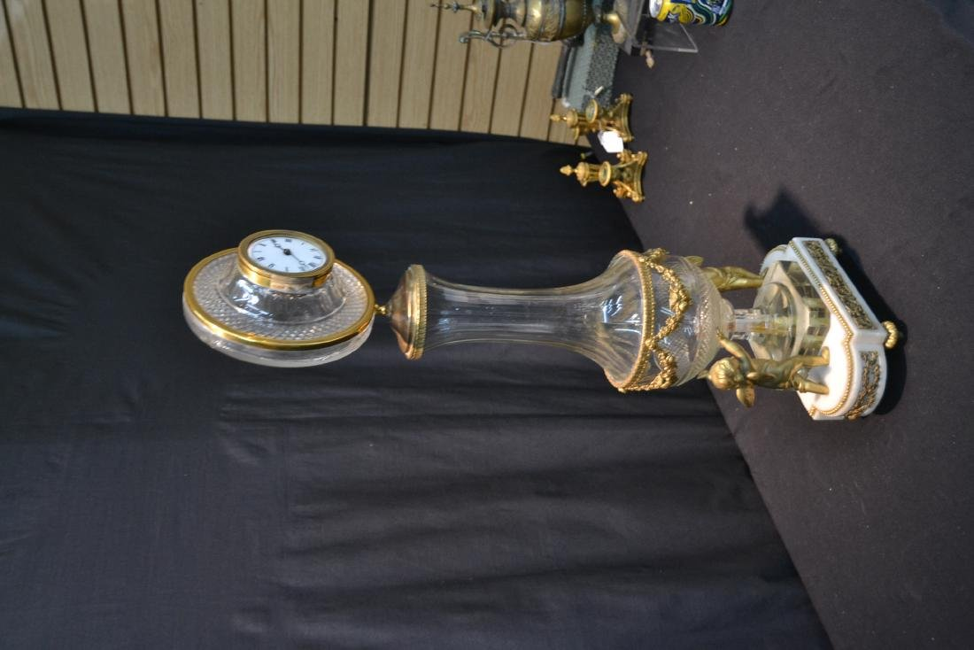 BRONZE & MARBLE CUT GLASS URN & CLOCK WITH - 5