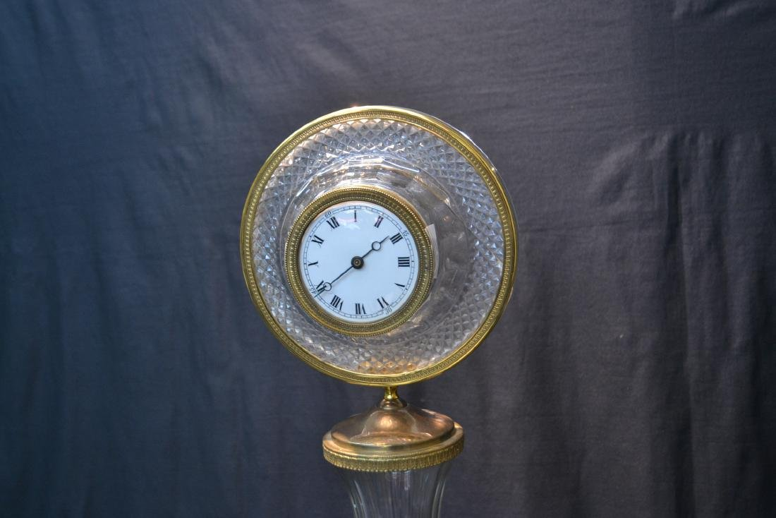 BRONZE & MARBLE CUT GLASS URN & CLOCK WITH - 6
