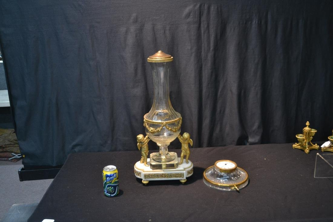 BRONZE & MARBLE CUT GLASS URN & CLOCK WITH - 7