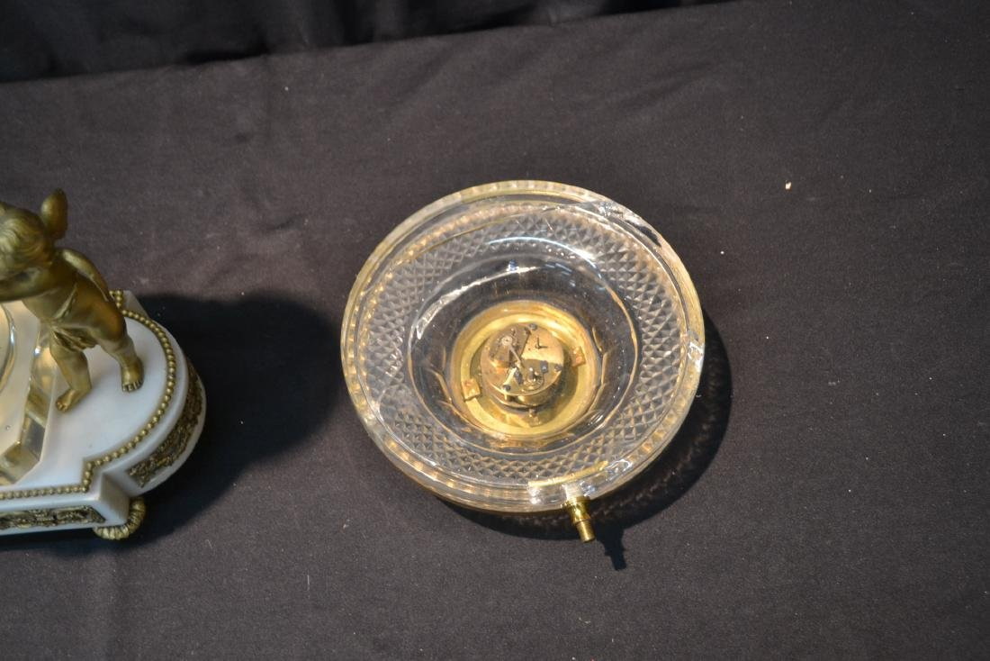BRONZE & MARBLE CUT GLASS URN & CLOCK WITH - 8