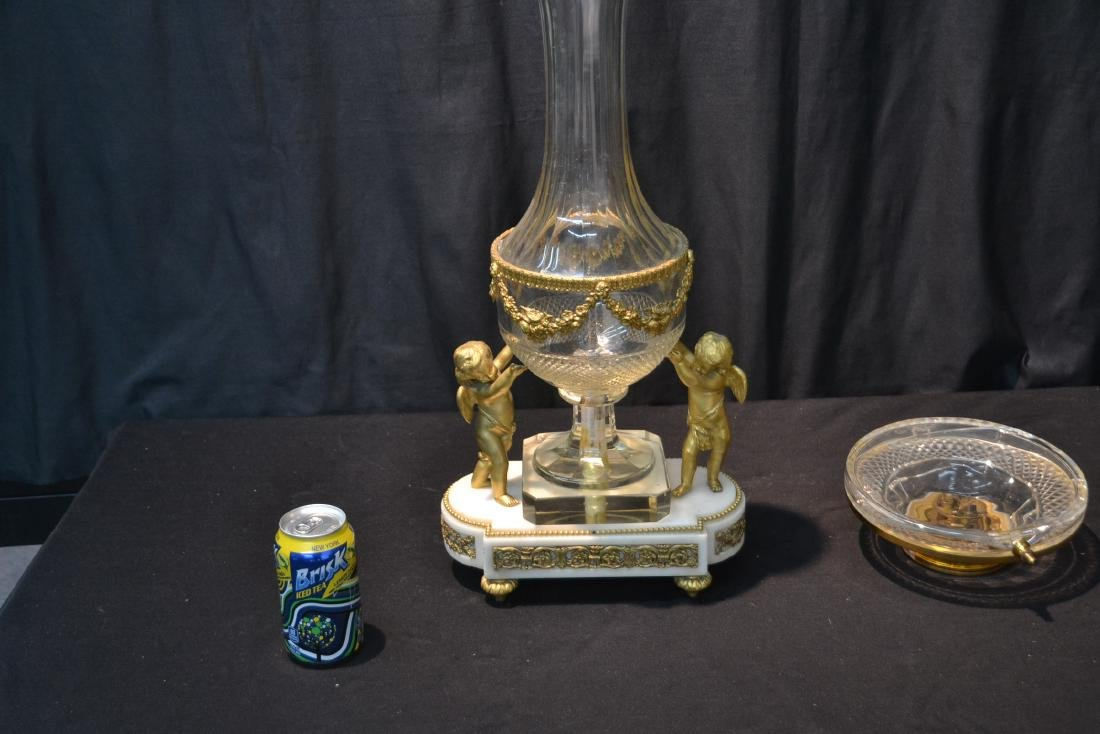 BRONZE & MARBLE CUT GLASS URN & CLOCK WITH - 9