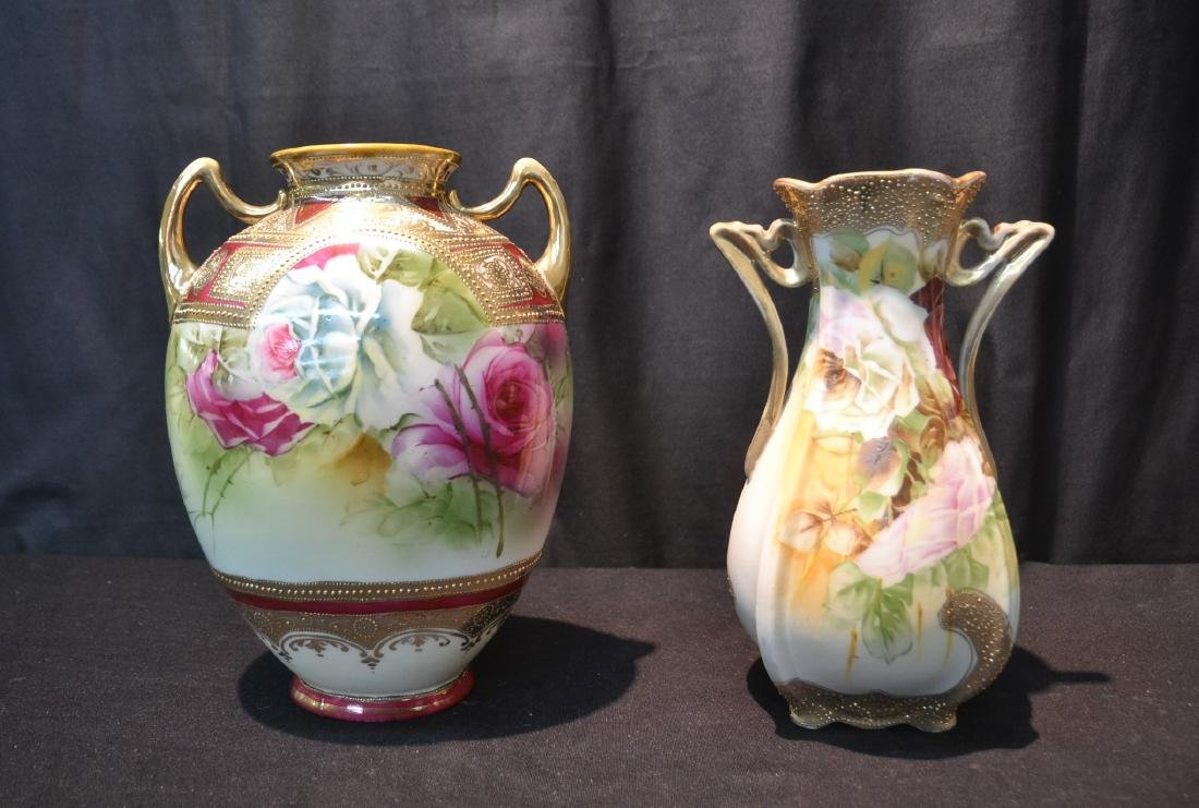 (2) NIPPON HAND PAINTED VASES WITH ROSES