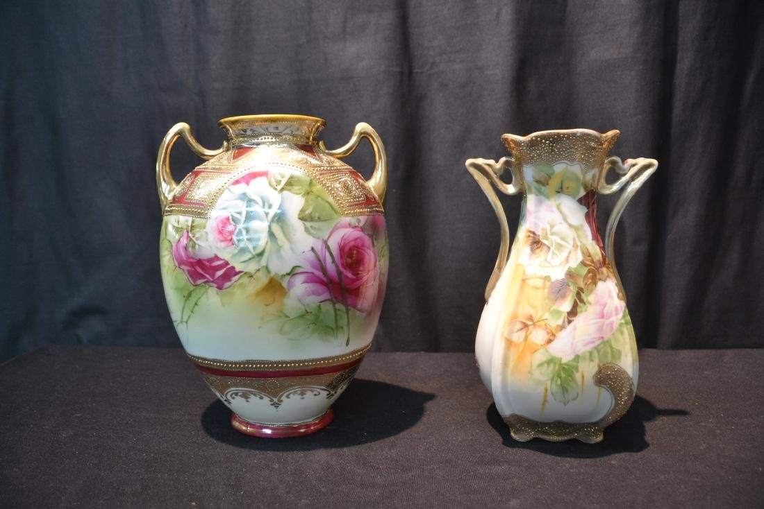 (2) NIPPON HAND PAINTED VASES WITH ROSES - 2