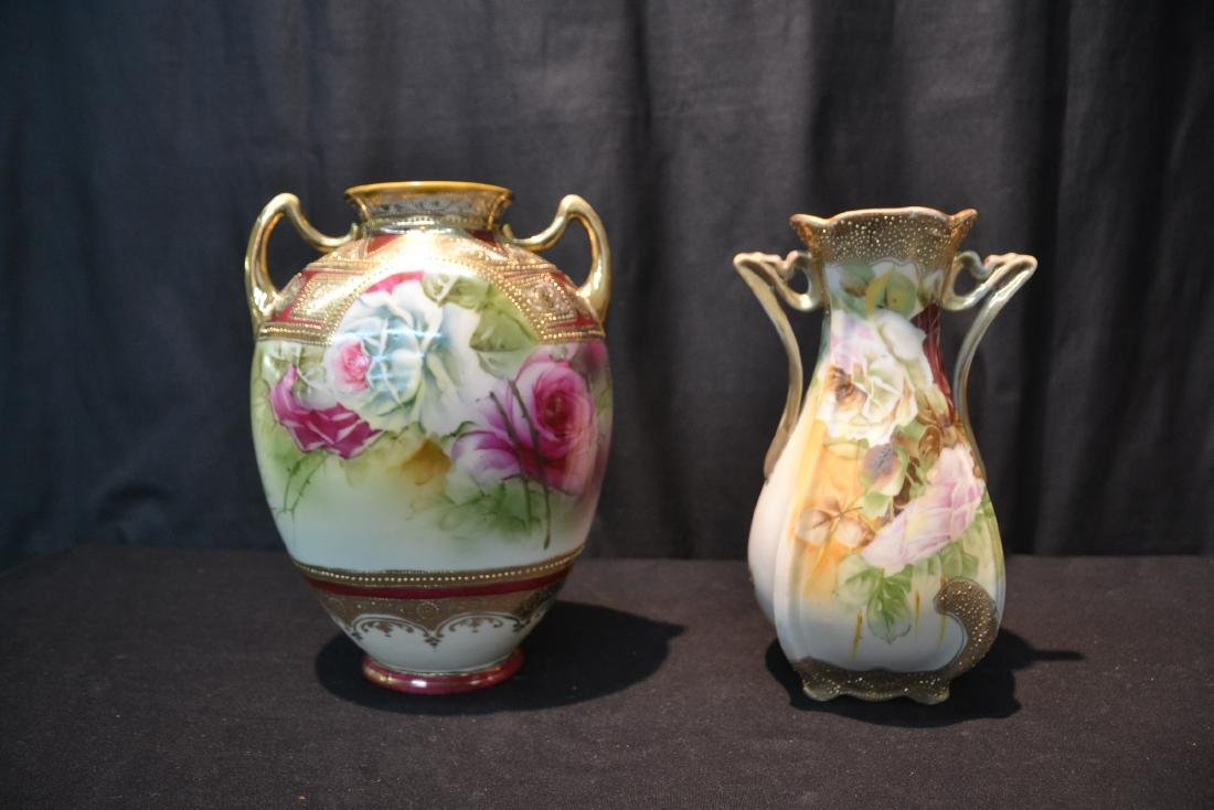 (2) NIPPON HAND PAINTED VASES WITH ROSES - 3