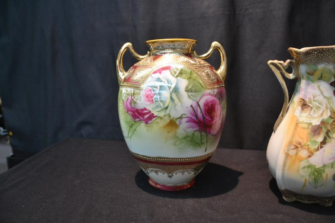 (2) NIPPON HAND PAINTED VASES WITH ROSES - 4