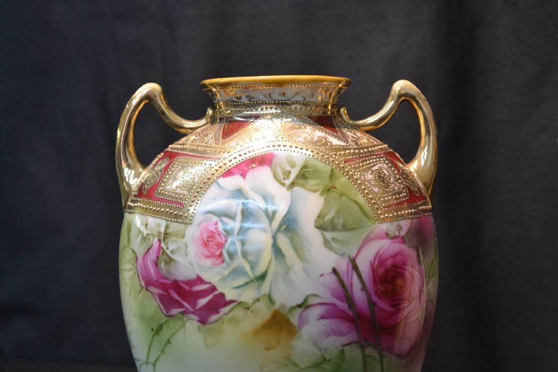 (2) NIPPON HAND PAINTED VASES WITH ROSES - 5