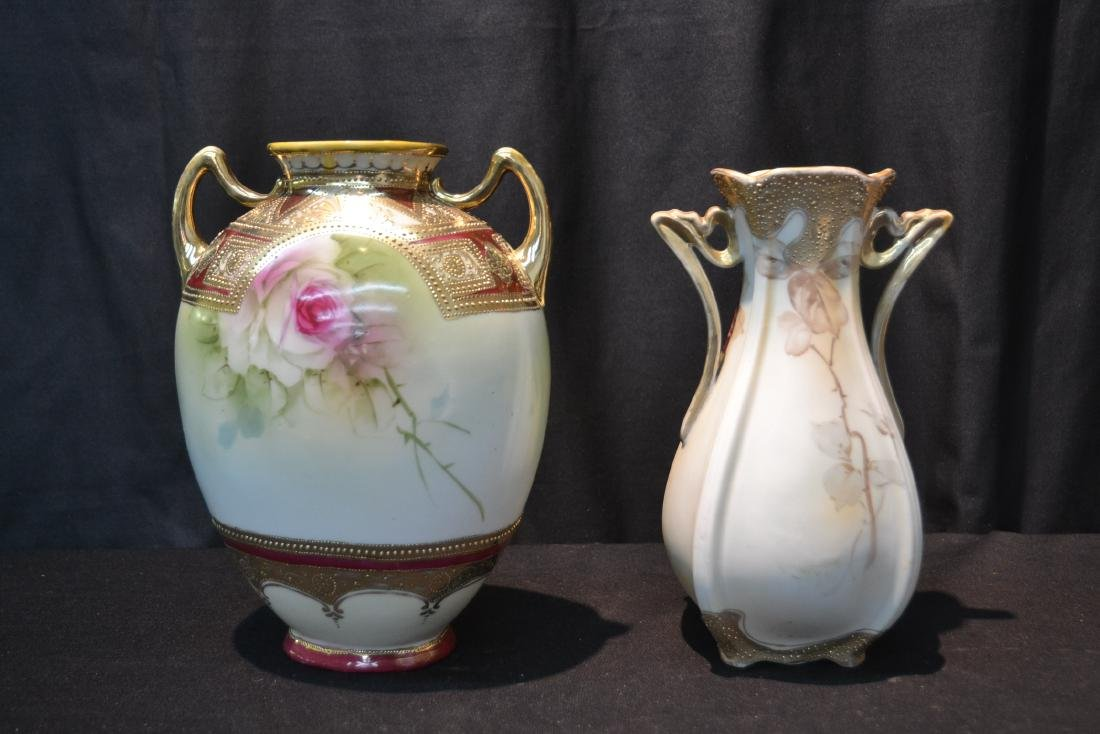 (2) NIPPON HAND PAINTED VASES WITH ROSES - 7