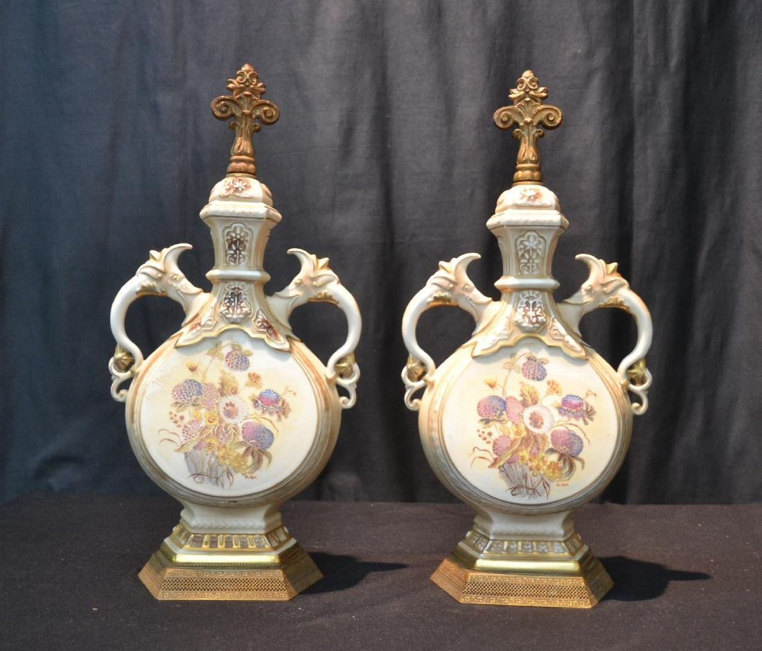 "(Pr) HAND PAINTED URN FORM LAMP BASES - 9"" x 19"""