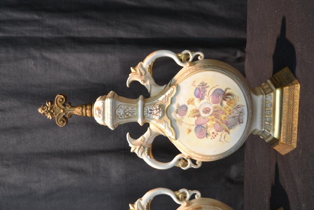 "(Pr) HAND PAINTED URN FORM LAMP BASES - 9"" x 19"" - 2"