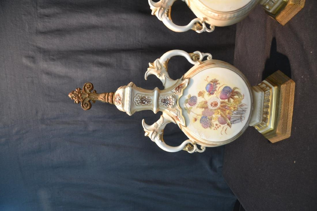 "(Pr) HAND PAINTED URN FORM LAMP BASES - 9"" x 19"" - 3"