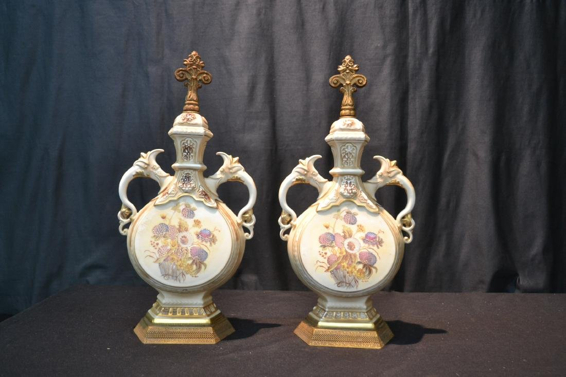 """(Pr) HAND PAINTED URN FORM LAMP BASES - 9"""" x 19"""" - 4"""