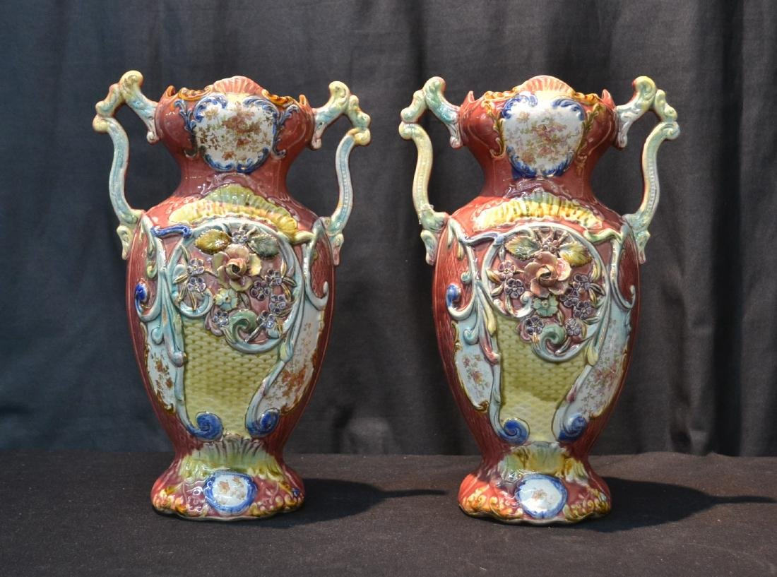(Pr) TWIN HANDLE MAJOLICA VASES WITH FLORAL