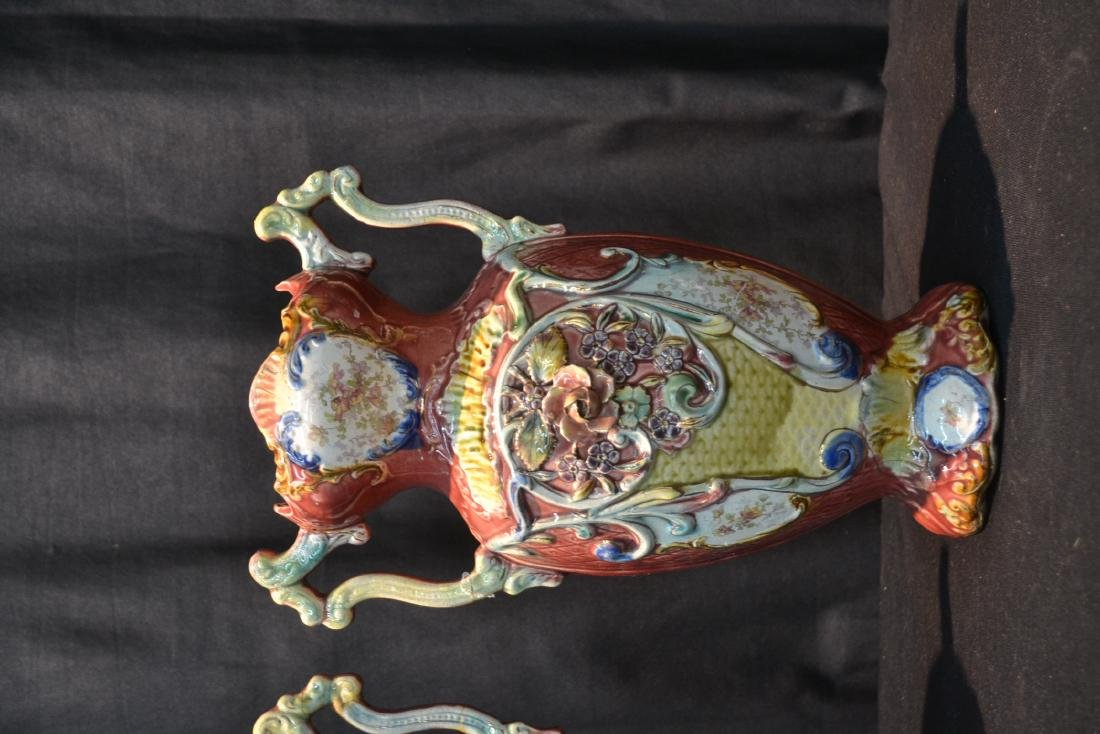 (Pr) TWIN HANDLE MAJOLICA VASES WITH FLORAL - 2
