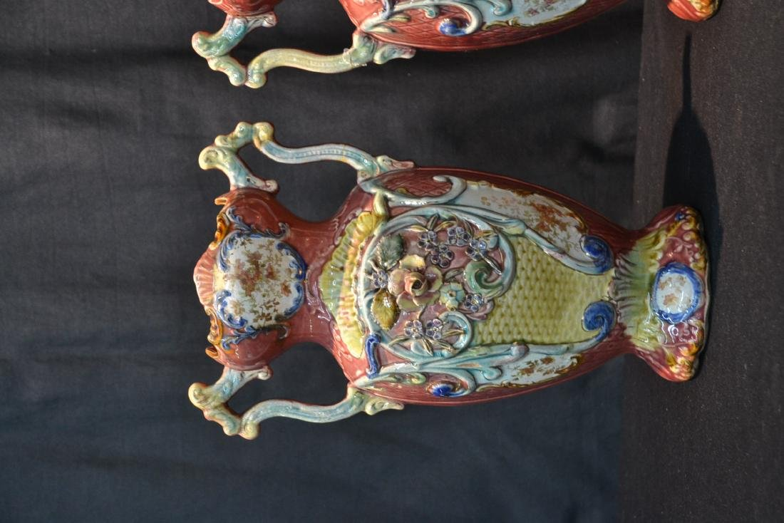 (Pr) TWIN HANDLE MAJOLICA VASES WITH FLORAL - 3
