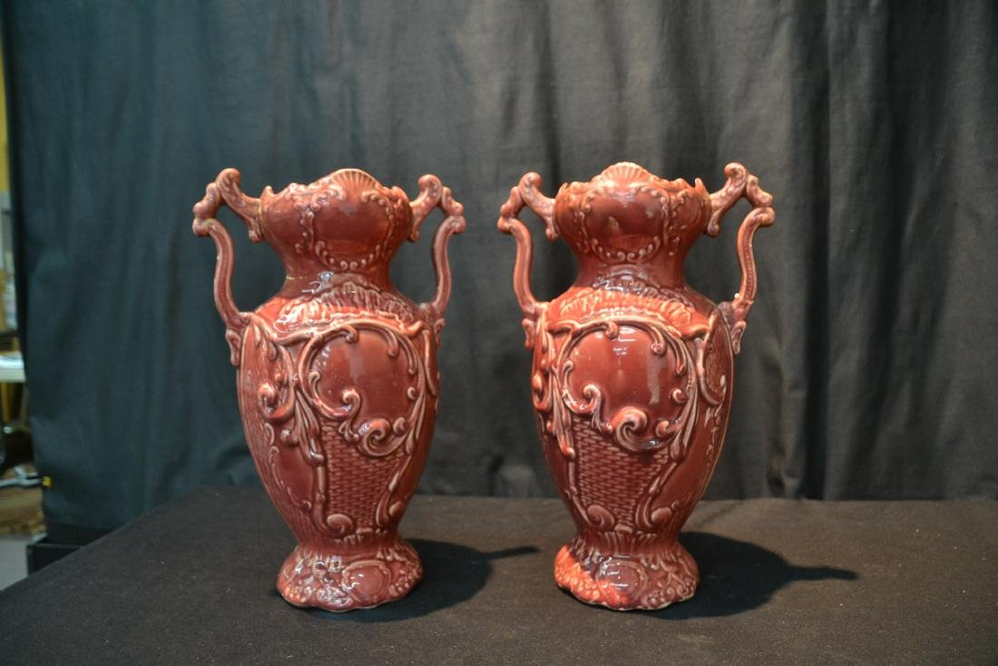 (Pr) TWIN HANDLE MAJOLICA VASES WITH FLORAL - 5