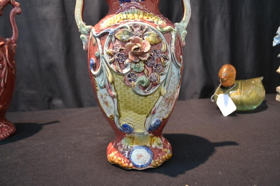 (Pr) TWIN HANDLE MAJOLICA VASES WITH FLORAL - 7
