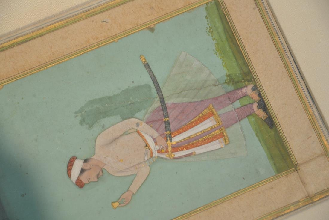 FRAMED HAND PAINTED INDIAN PAGE OF MAN WITH - 10