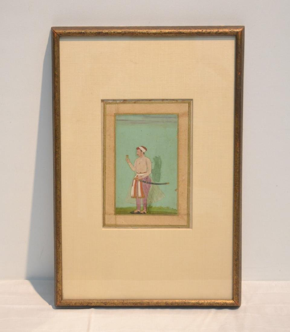 FRAMED HAND PAINTED INDIAN PAGE OF MAN WITH