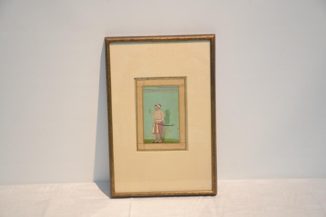 FRAMED HAND PAINTED INDIAN PAGE OF MAN WITH - 2