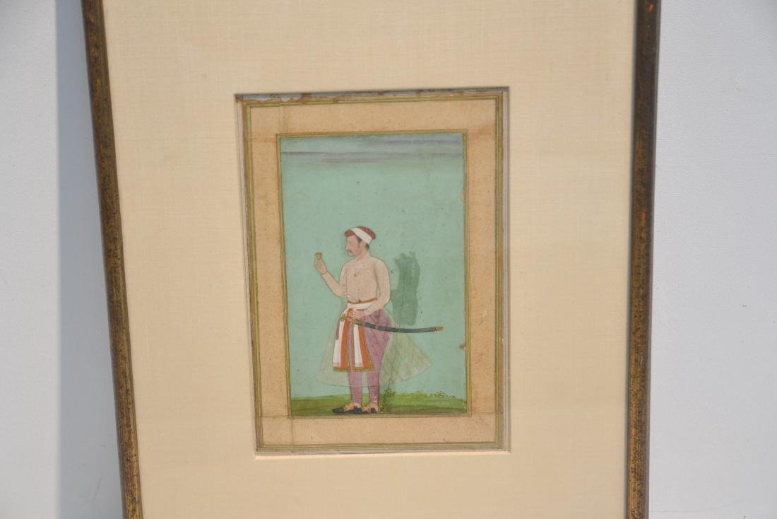 FRAMED HAND PAINTED INDIAN PAGE OF MAN WITH - 3