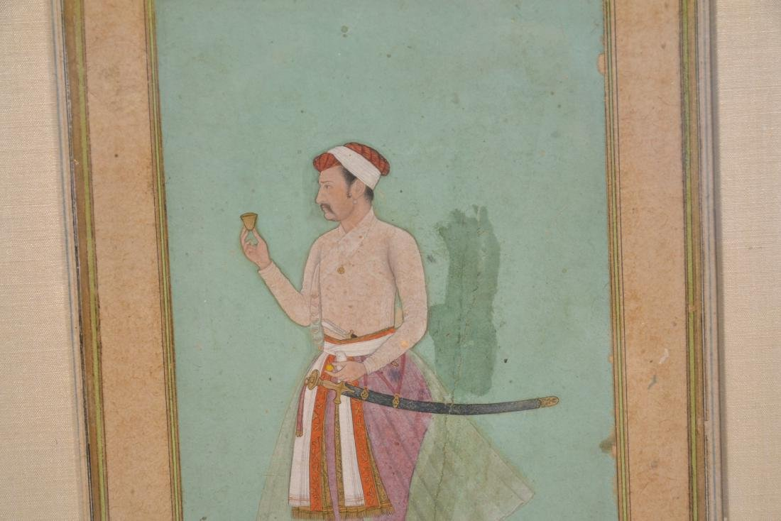 FRAMED HAND PAINTED INDIAN PAGE OF MAN WITH - 4