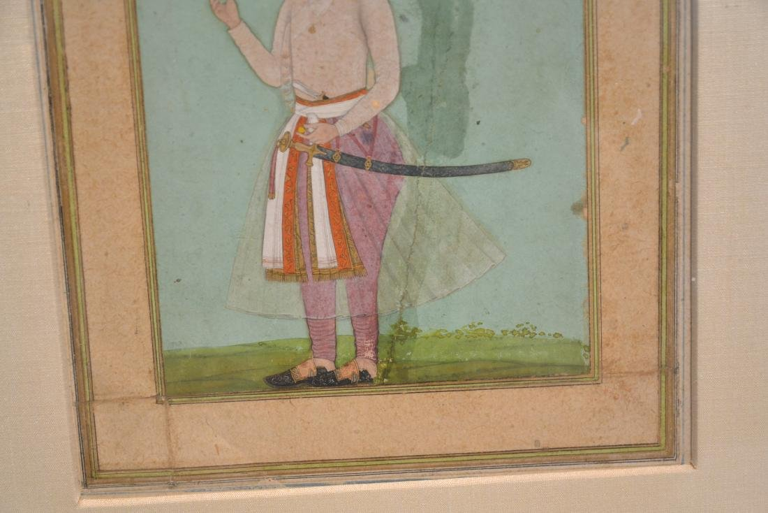 FRAMED HAND PAINTED INDIAN PAGE OF MAN WITH - 5