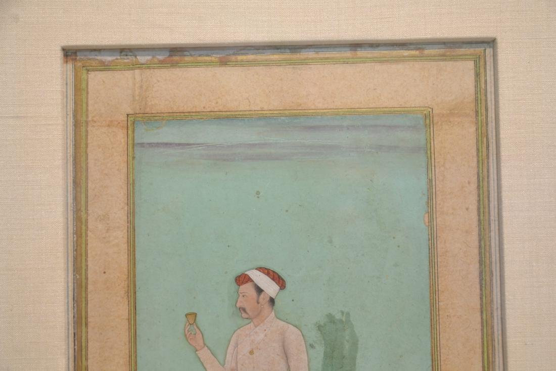 FRAMED HAND PAINTED INDIAN PAGE OF MAN WITH - 6