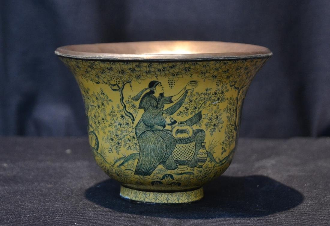INDIAN DECORATED BOWL WITH FIGURES & TREES