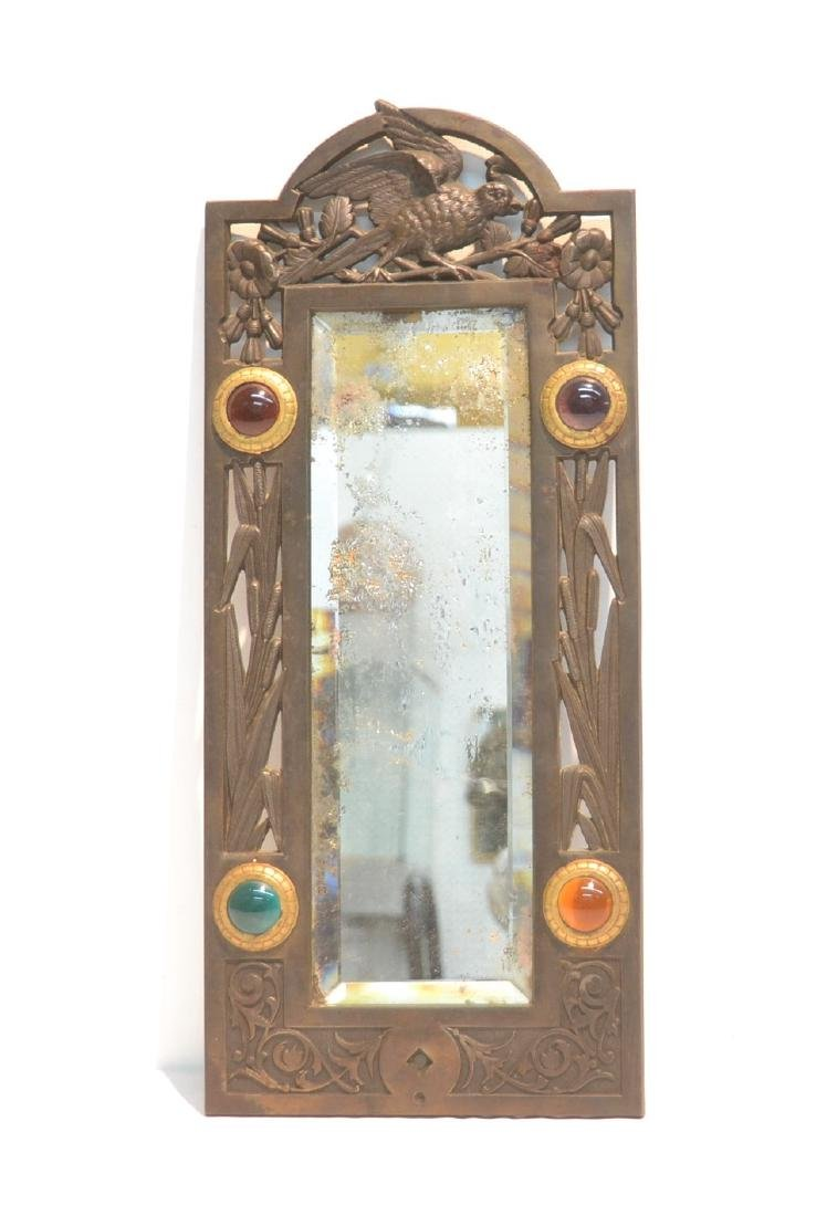 ARTS & CRAFTS METAL BEVELED MIRROR WITH