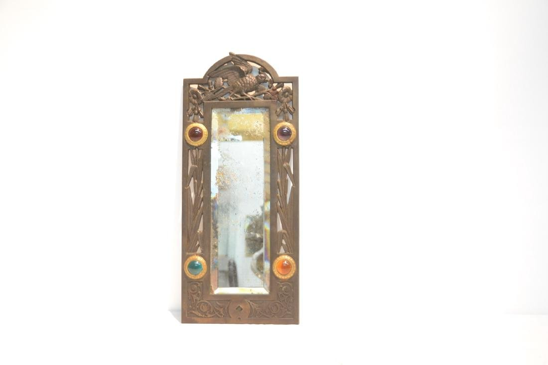 ARTS & CRAFTS METAL BEVELED MIRROR WITH - 2