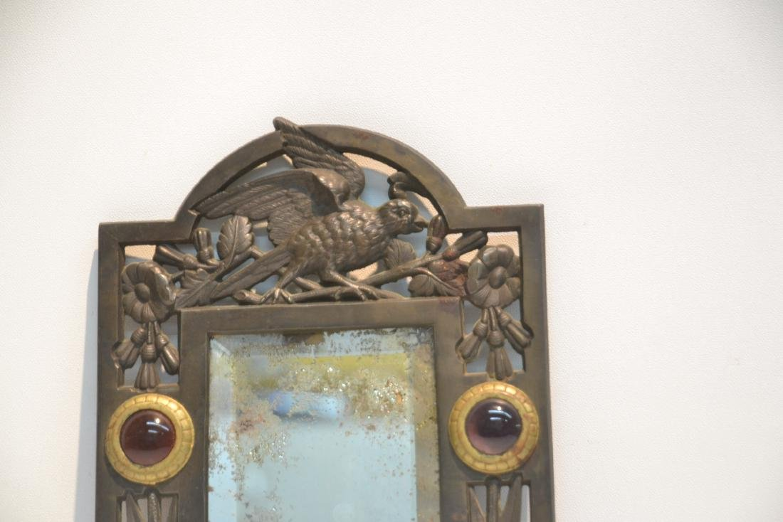 ARTS & CRAFTS METAL BEVELED MIRROR WITH - 3