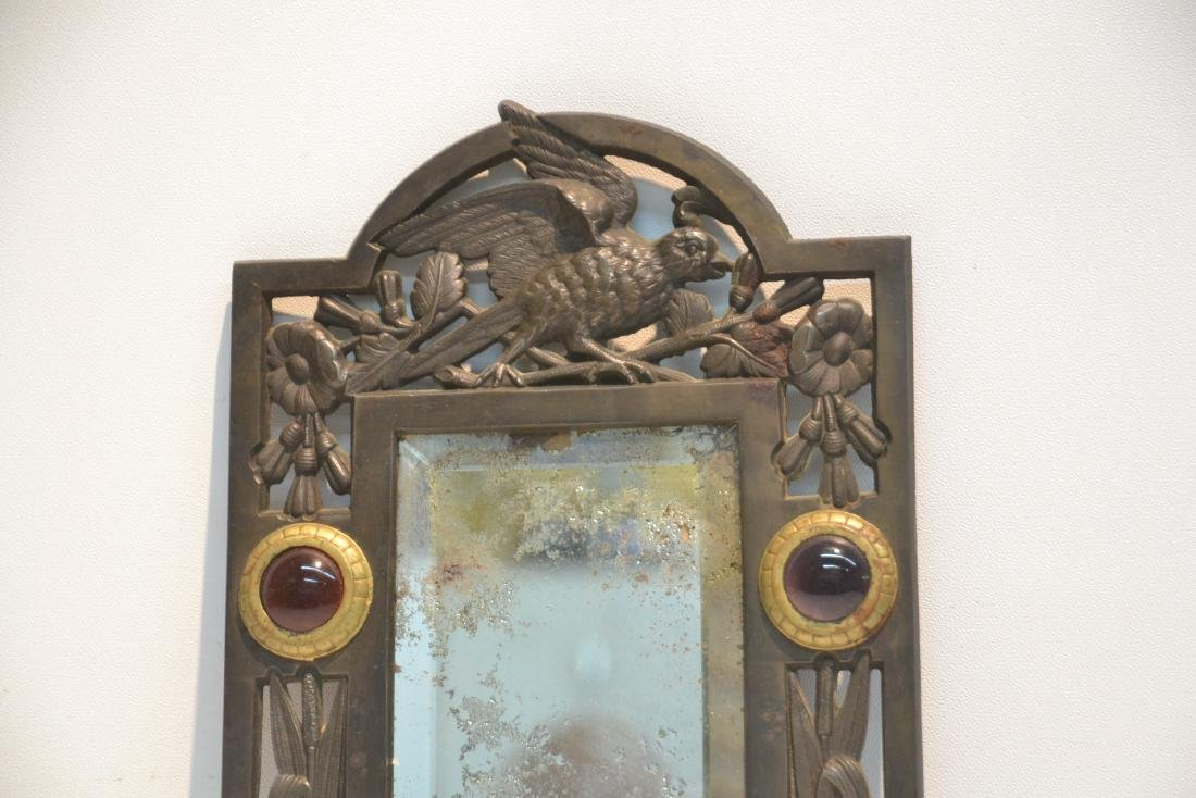 ARTS & CRAFTS METAL BEVELED MIRROR WITH - 4
