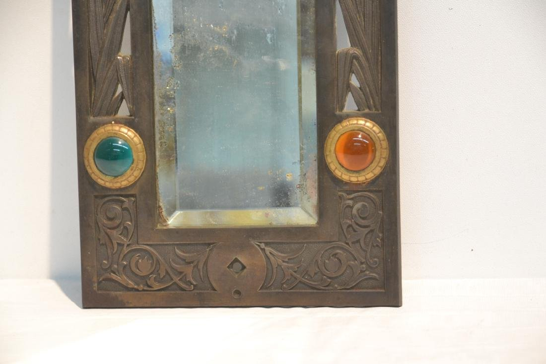 ARTS & CRAFTS METAL BEVELED MIRROR WITH - 5