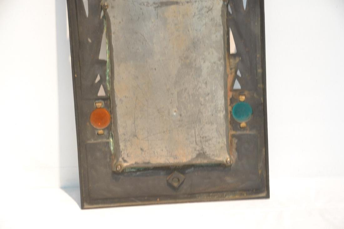 ARTS & CRAFTS METAL BEVELED MIRROR WITH - 9