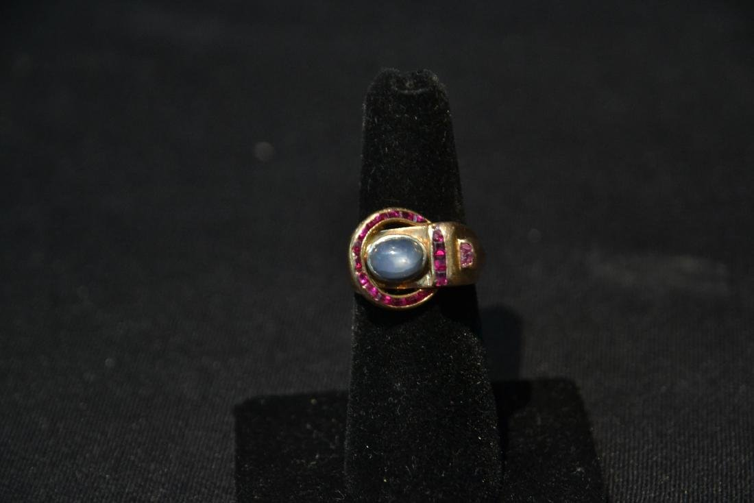 DECO 14kt ROSE GOLD RUBY RING WITH STAR SAPPHIRE - 2