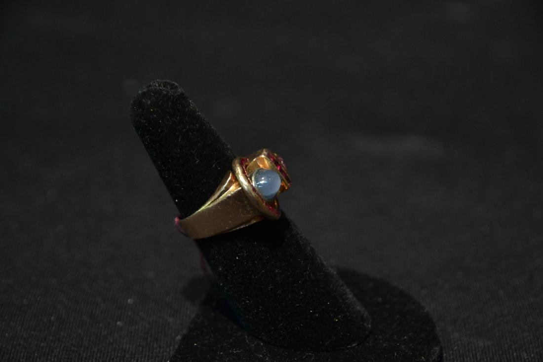 DECO 14kt ROSE GOLD RUBY RING WITH STAR SAPPHIRE - 3