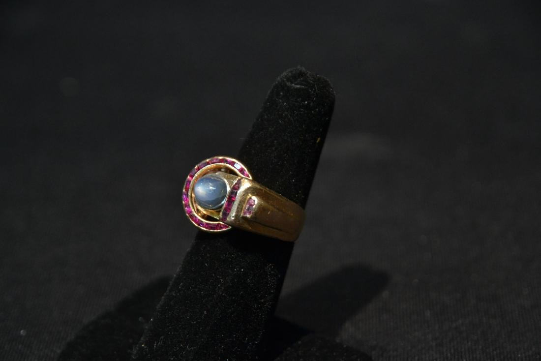 DECO 14kt ROSE GOLD RUBY RING WITH STAR SAPPHIRE - 4
