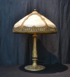6-PANEL BENT SLAG GLASS TABLE LAMP