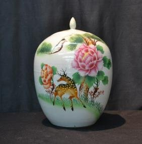 """CHINESE PORCELAIN VASE WITH DEER - 8"""" x 13"""""""