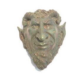 BRONZE SATYR WALL HANGING BUST SIGNED