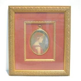 HAND PAINTED PORTRAIT MINIATURE OF WOMEN